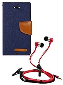 Aart Fancy Wallet Dairy Jeans Flip Case Cover for OnePlusOnePlus2 (NavyBlue) + Zipper Earphones/Hands free With Mic *Stylish Design* for all Mobiles- computers & laptops By Aart Store.