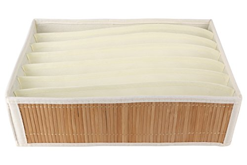 Miamour Bamboo Storage Organizer, 7 Pockets, White