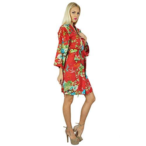 Bimba femmes courtes en coton personnalisé Robe imprimé floral de demoiselle d'honneur Getting Ready Wrap Cover Up Rouge
