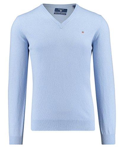 GANT Herren Pullover Extra Fine Wool V-Neck Blau