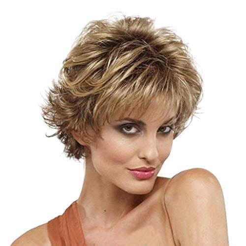 Perücke Wig Damen Kurz White Wavy Brazilian Cosplay Frauen Curly Synthetische Hair 50Er 60Er 70Er 80Er (Kurze Perücken Bob Für Frauen)