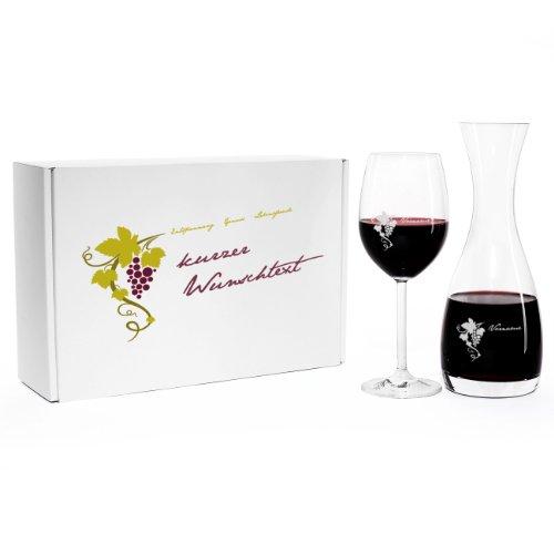 Leonardo Wein Geschenkset mit Gratis Gravur von Weinkaraffe und Weinglas im Bedruckten...