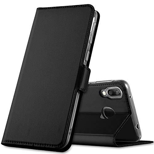 GEEMAI für Huawei Y7 2019 Hülle, für Huawei Y7 Prime 2019 Hülle, handyhüllen Flip Hülle Wallet Stylish mit Standfunktion und Magnetisch PU Tasche Schutzhülle passt für Huawei Y7 2019 Phone, Schwarz