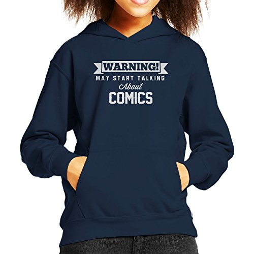 Warning May Start Talking About Comics Kid's Hooded Sweatshirt