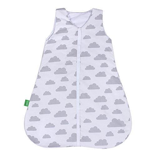 LULANDO Babyschlafsack für Neugeborene und Kleinkinder Sommerschlafsack und Winterschlafsack für Ihr Baby, Farbe:Grey Clouds / White;Größe:90 cm