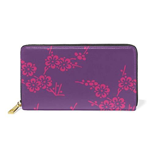 Agoyls Geldbörse Portemonnaie Wallet for Women,Watercolor Plum Flower Genuine Leather Bifold Clutch Purse with Card Holder/Zipper Pocket for Coin/Phone Bag for Ladies -