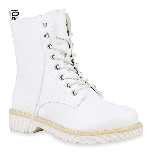 Damen Schuhe Stiefeletten Worker Boots Profil Sohle Outdoor Stiefel Lack 153517 Weiss Camiri 41 Flandell