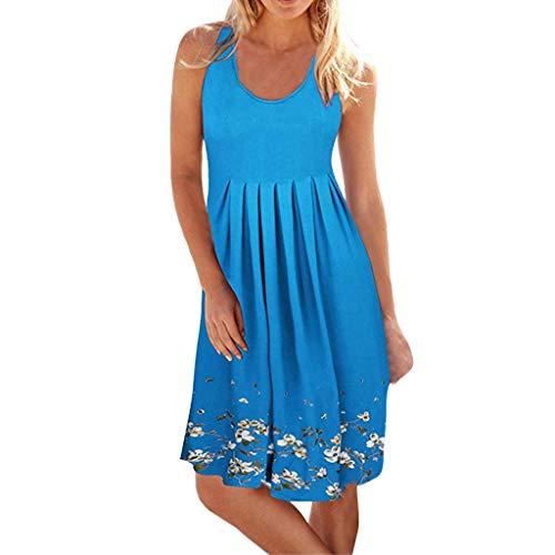 iHENGH Damen Sommer Rock Lässig Mode Kleider Bequem Frauen Röcke ärmellose Abend Party Strandkleid kurzes Kleid(Hellblau, 2XL)
