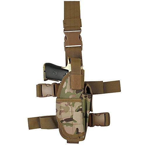 YooGer Leg Holster, Taktische Pistole Oberschenkel Tasche Einstellbare Military Airsoft Gun Halter Multifunktionale Ersatzbeutel (Camouflage) (Airsoft Gun Holster)