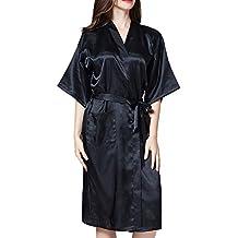 DELEY Unisex Pareja Mujeres Kimono Satén Seda Suave Dormir Peignoir Bata de Baño Albornoces Ropa de