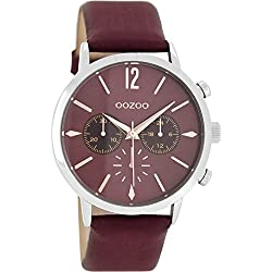 Oozoo Damenuhr mit Lederband 40 MM Bordeauxrot/Bordeauxrot C8245