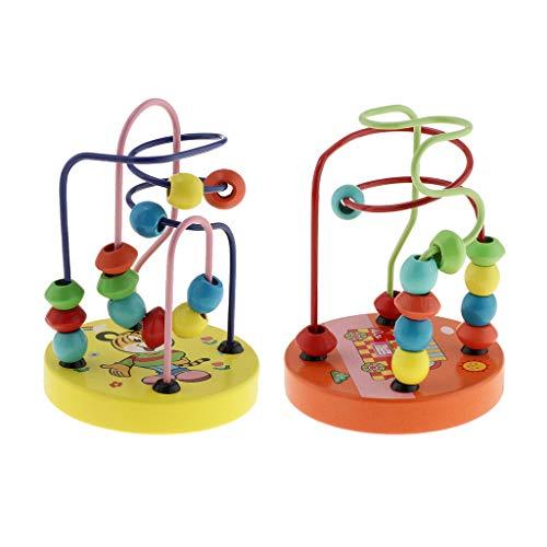 Homyl 2 Stück Klassisches Holzspielzeug Motorikschleife Perlen Labyrinth pädagogisches Spielzeug fürKleinkind