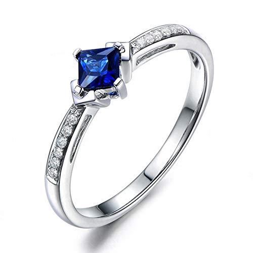 Amody Größe S925 Sterling Silber Square erstellt Blue Sapphire Rhombus Hochzeits Band Ring für Frauen Mädchen Größe 64 (20.4)