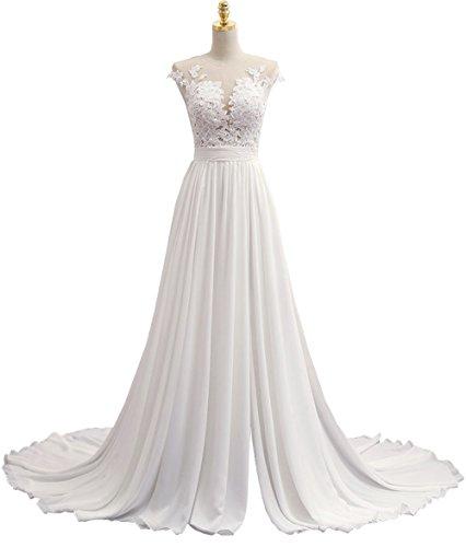 Solovedress Frauen Sexy V Ausschnitt A Line Chiffon Strand Hochzeitskleid Lange Abendkleid (Eur...