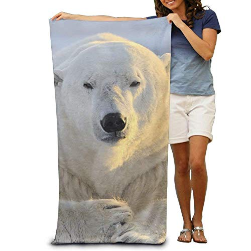 Laohujia Multi-Purpose Beach Towel White Snow Polar Bear Polyester Bath Sheets Towels Family Bathroom,Hotel,Swimming Pool,Gym Quick Dry Strong Water Absorption,Eco-Friendly 31