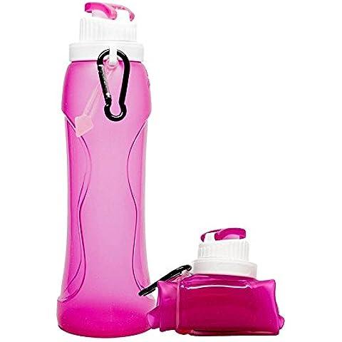 Al aire libre plegable botella de agua a prueba de fugas plegable alimentos grado silicona deportes botella perfecto para senderismo, ciclismo, Picnic y deporte, Rosa roja