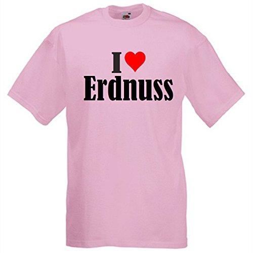 """T-Shirt """"I Love Erdnuss"""" für Damen Herren und Kinder in Pink Pink"""