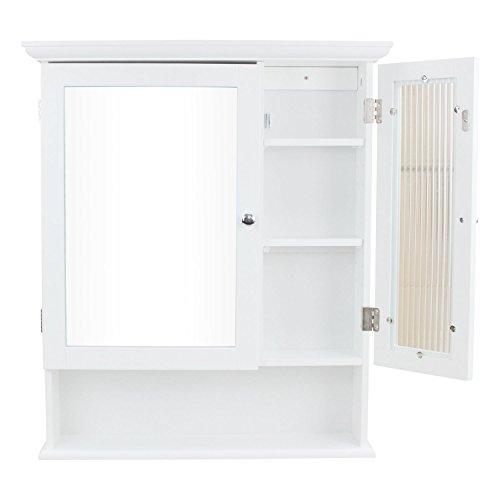 1PLUS Landhaus Badezimmerschrank Spiegelschrank Hängeschrank mit 2 Türen (B x H x T) 61 x 71 x