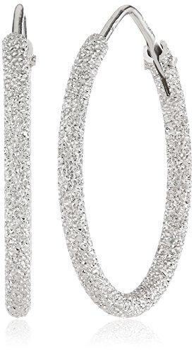 MTS Damen-Creolen 925 Sterling Silber rhodiniert diamantiert OR-09-20 Mts Fällen