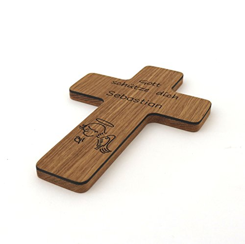 Taufkreuz mit Namen Kinderkreuz aus Holz Holzkreuz Gravur Schutzengel zur Taufe als Taufgeschenk für Taufpate für Mädchen Junge personalisiert mit Name Geschenk zur Geburt, Eiche - 2