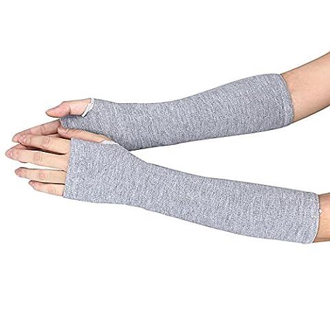 WINWINTOM Winter-Handgelenk-Arm-Handwärmer gestrickte lange Halbhandschuhe (Grau)