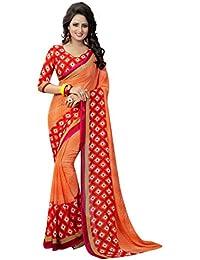Krishna Emporia Women's Georgette Saree With Blouse Piece (Krishna Emporia Okhi Saree 511_Red)