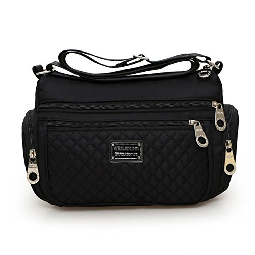 Women Crossbody bags, Veriya Nylon Water Resistant Lightweight Handbag Shoulder messenger Cross-Body Bag Multi Zip Pockets for Ladies (Black)