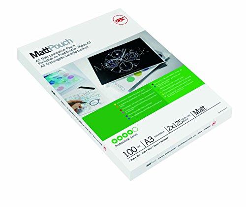 GBC 3747235 Matte Laminiertaschen (A3, 2 x 125 Micron, entspiegelte Oberfläche Edles Finish, beschriftbar) 100 Stück