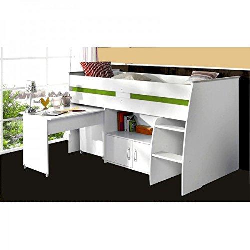Hochbett Aljoscha weiß inklusive Schreibtisch + Kommode + Ablagefach + Lattenrostplatte Spielbett Kinderbett Jugendzimmer Kinderzimmer (Schreibtisch Hochbett Kommode)