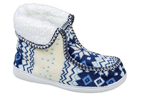 GIBRA® Hausschuhe für Damen, warm gefüttert, mit weißer Sohle, blau, Gr. 36-41 Blau