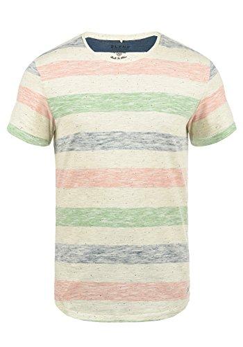 Blend Efkin Herren T-Shirt Kurzarm Shirt Mit Streifen Und Rundhalsausschnitt, Größe:L, Farbe:Denim Blue (74646)