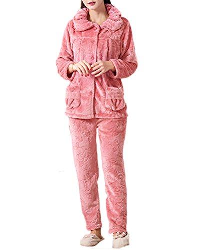 Nanxson(TM) Pyjama Femme En Polaire Épais Chaud Pour Automne Hiver SYW0053 (carmin, XL (taille d'étiquette: XXL))