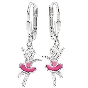 Clever Schmuck Silberne Mädchen Ohrhänger 28 mm kleine Ballerina 12 mm pink und rosa lackiert glänzend STERLING SILBER 925 für Kinder