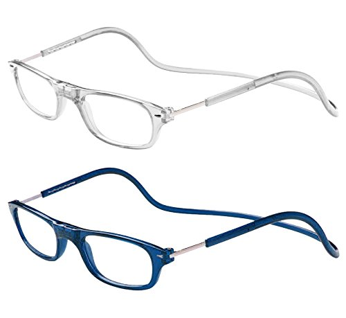 TBOC Pack: Gafas de Lectura Presbicia Vista Cansada – (Dos Unidades) Graduadas +2.50 Dioptrías Montura Transparente y Azul Hombre Mujer Imantadas Plegables Lentes Aumento Leer Ver Cerca Cuello Imán