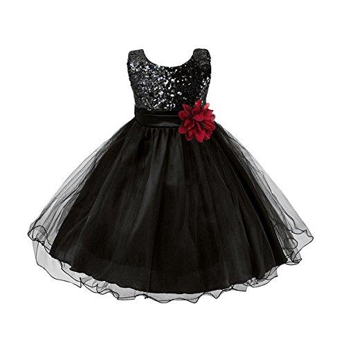 ESHOO Mädchen Kleid Pinzessin Kostüm Pailletten Blumen Prinzessin Party Dress, Black, 9-10 Jahre/Tag 160