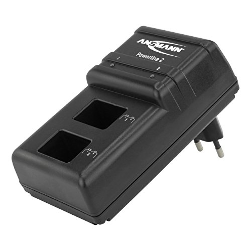 ANSMANN Batterieladegerät Powerline 2 für 9V Akku Batterien - Dual Ladegerät, intelligentes 2fach Akkuladegerät für NiMH E-Block Akkus - Stecker Lader mit Einzelschachtüberwachung & LED Anzeige