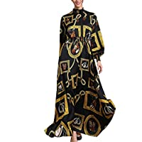 Sumeier Women's Muslim New Simple Vintage Print Slim Elastic Waist Dress, lain Solid Luxurious Soft Feel Chiffon Perfect For Wedding Evening Party Wrap