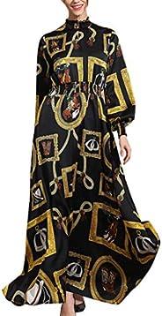 Sumeier Women's Muslim New Simple Vintage Print Slim Elastic Waist Dress, lain Solid Luxurious Soft Feel C