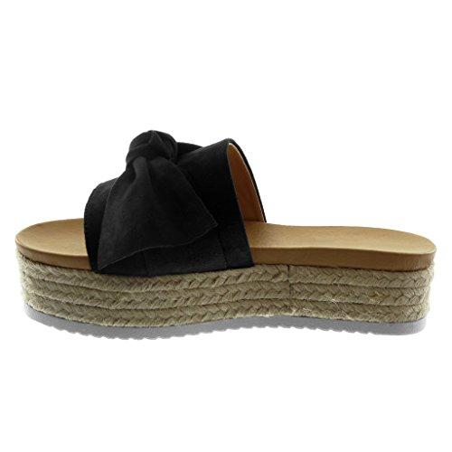 Angkorly Chaussure Mode Sandale Mule Slip-On Plateforme Femme Noeud Corde Tréssé Talon Compensé Plateforme 4.5 cm Noir
