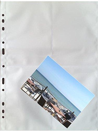 fotohuellen 10x15 100 x A4 Fotohüllen, Sammelhüllen mit weißer Mittelfolie, 8 Taschen à 10x15 cm
