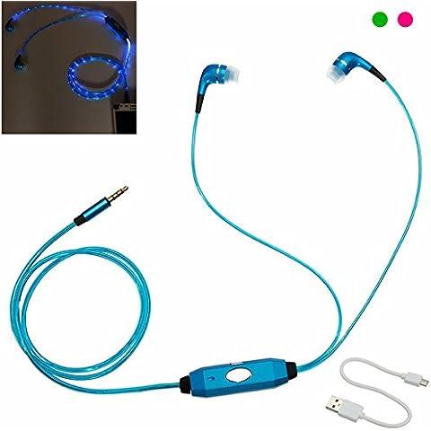 LED Flash Light 3.5mm Stereo Earphone Earbud Auricolari con Mic