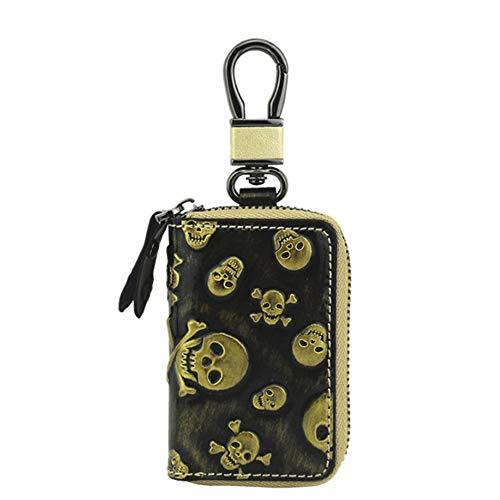 HAOXIONGMAOYI UK Autoschlüssel Tasche Leder Mode Krepp Leder Autoschlüssel Tasche Reißverschluss Schlüssel Rindsleder Autoschlüssel Tasche Lederrucksack (Color : Gold, Size : S)