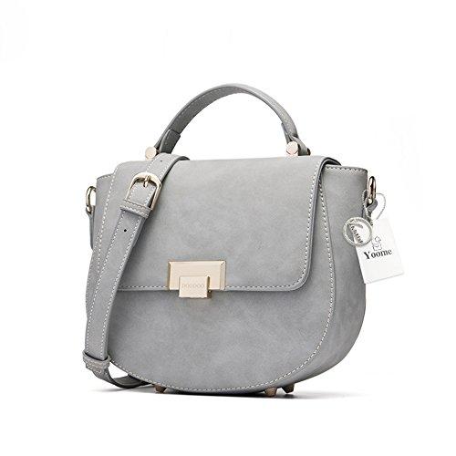 Yoome Kleine Schulter Handtaschen für Mädchen Satteltaschen für Frauen Top Griff Satchel Cute Crossbody Taschen - Grau -