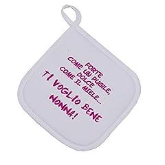 Idea Regalo - bubbleshirt Presina Festa dei Nonni - Forte Come Un Pugile, Dolce Come Il Miele, Ti Voglio Bene Nonna - Idea Regalo - Dimensioni: 17cm x 17 cm