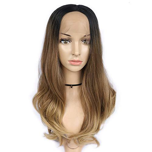 HANNE Lace Front Ombre Blonde lange lockige Perücke Hitzebeständigkeit Kunsthaarperücke für Frauen