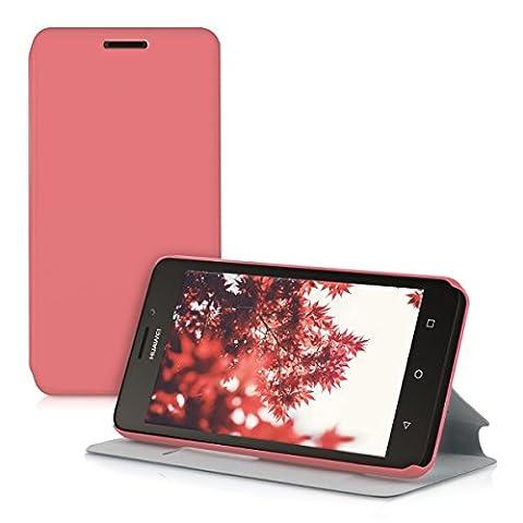 kwmobile Étui de protection à rabat pratique et chic pour Huawei Ascend Y635 en rose foncé