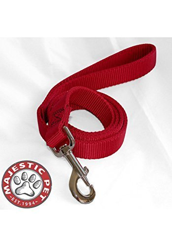 Majestic Pet 1-inch by 4-feet doppia Pet Lead for Dogs, Red by Majestic Pet Products, Inc.