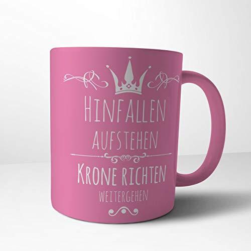 Creativgravur Tasse Kaffeebecher Kaffeetasse - Prinzessin hinfallen, aufstehen, Krone richten,...