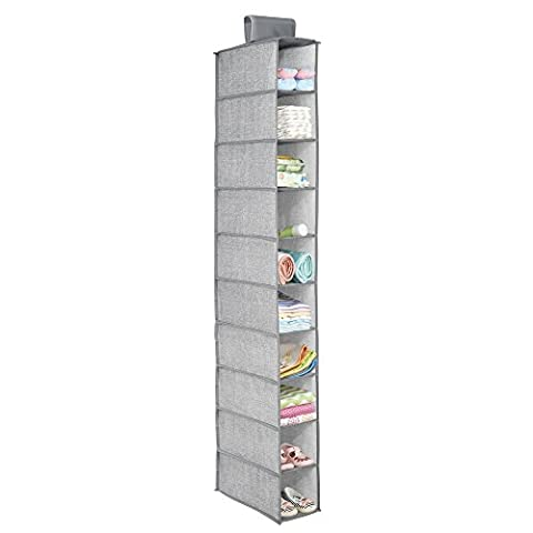 InterDesign Aldo Fabric Hanging Closet Storage Organizer, for Shoes, Handbags, Clutches - 10 Shelves, Gray