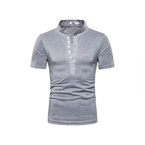 2019 Männer Reinen Farben-Knopf Striped Splice-beiläufigen Sport-Hemd Mit Kurzen Ärmeln, Grau, XXXL